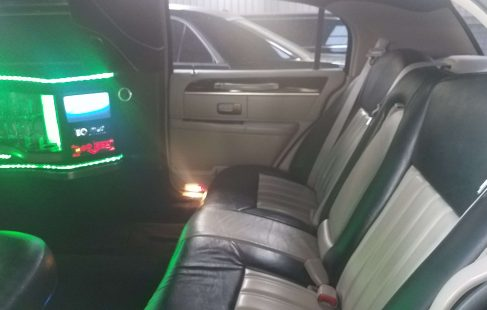 120-inch lincoln towncar limo back seating and control panel