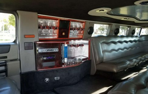 2003 white 180-inch hummer h2 limousine bar and controls
