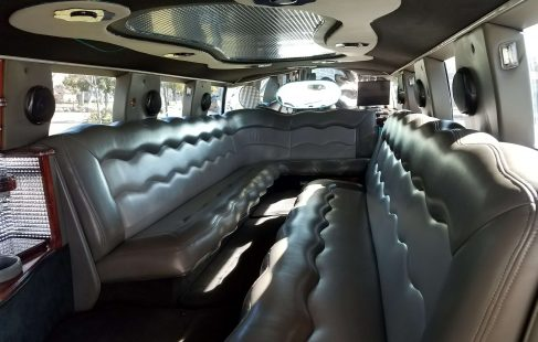 2003 white 180-inch hummer h2 limousine ceiling and seating