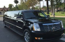 2007 black 140-inch stretch cadillac escalade limousine 1440
