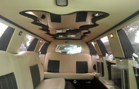 inside black 140-inch lincoln limo