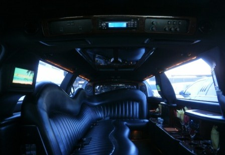 inside white lincoln town car limo