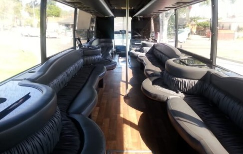 looking back to front vanhool 50 passenger party bus