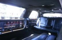 white 120-inch lincoln limo inside