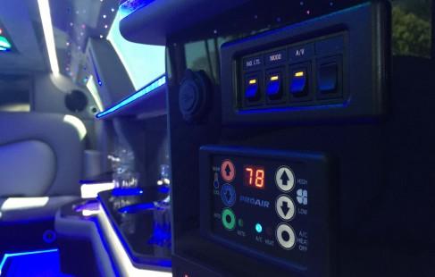 2015 black 140-inch chrysler 300 limousine control panel
