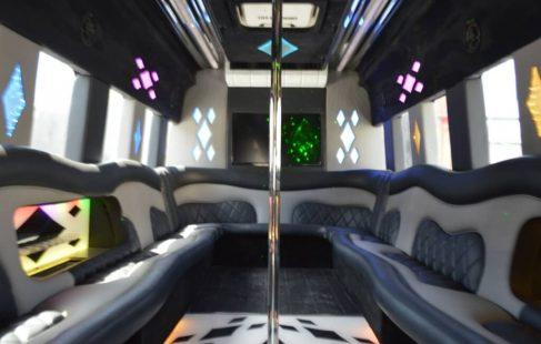 2007 white 24 passenger ford E450 party bus interior