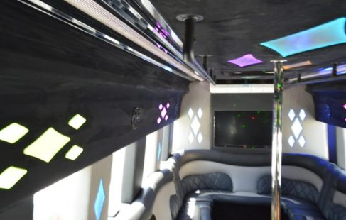 ceiling left side white 24-passenger ford E450 party bus for sale #2438