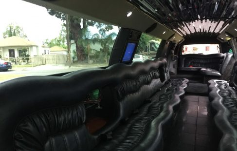 "pearl white 200"" cadillac escalade limo ceiling"