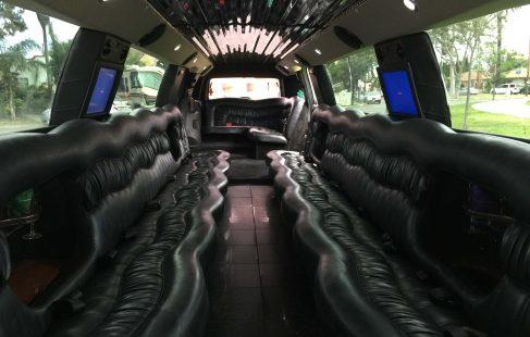 """pearl white 200"""" cadillac escalade limo interior"""