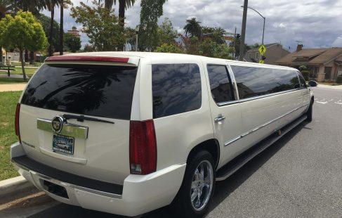 "pearl white 200"" cadillac escalade limousine right rear"