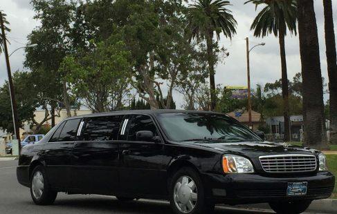 black 72-inch cadillac deville limousine for sale