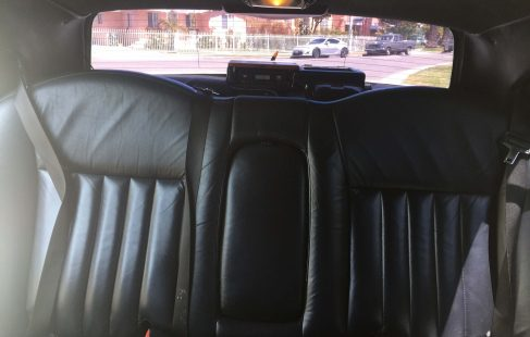 white 120-inch lincoln towncar limousine for sale rear seating