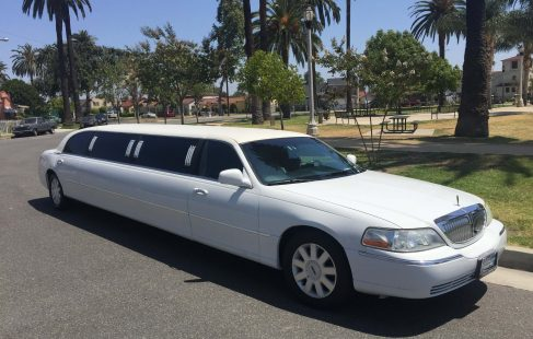 white 120-inch lincoln town car limousine for sale