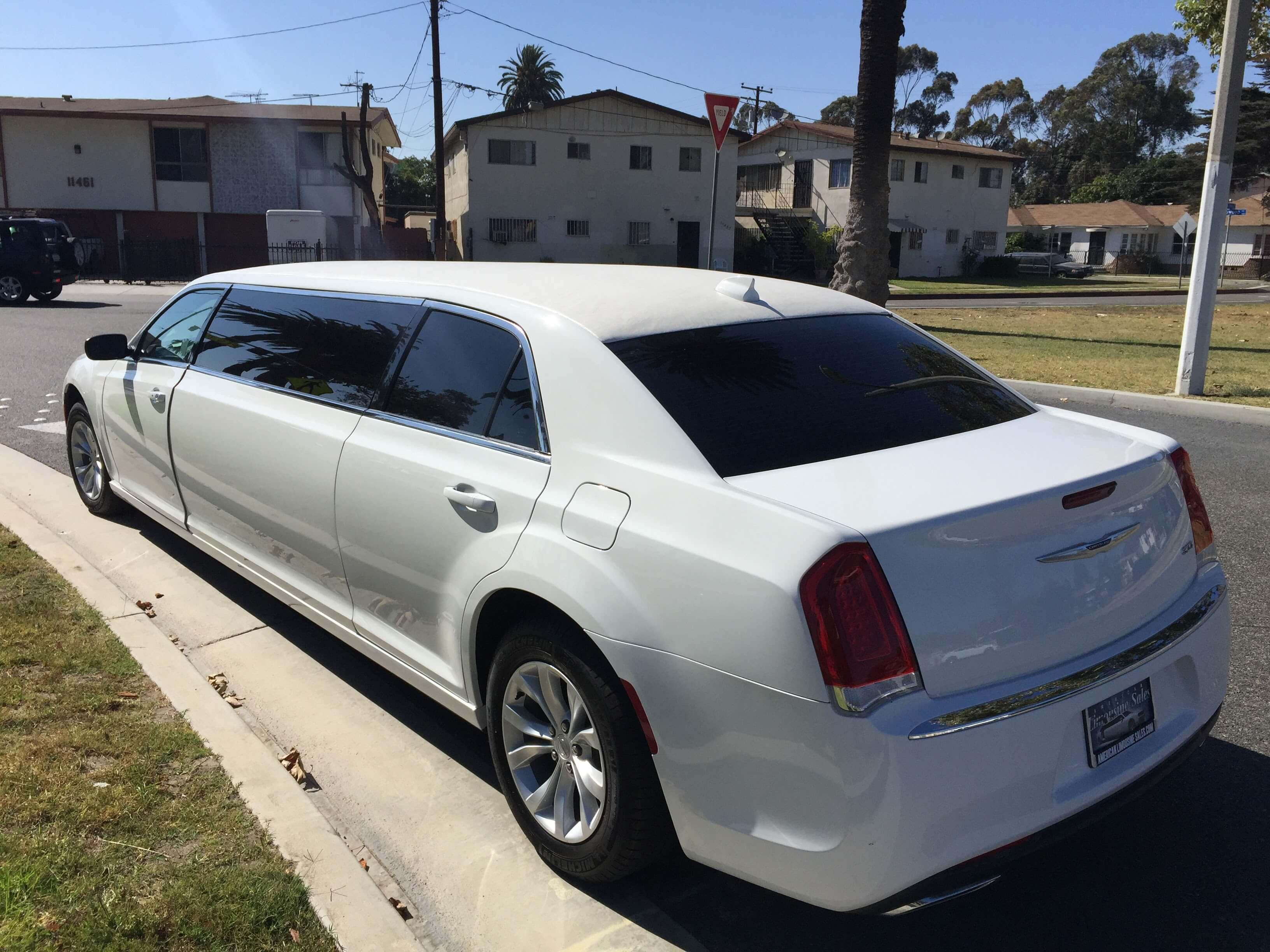white 70-inch chrysler 300 limousine for sale #6228 left rear