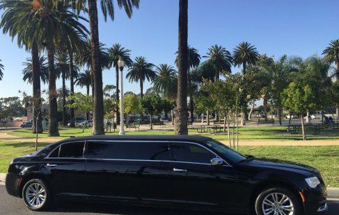 black 70-inch chrysler 300 limousine