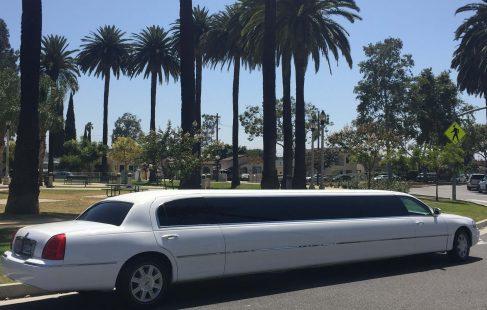 white 180-inch lincoln town car limousine #1881