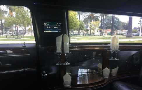 72-inch lincoln town car limousine left side tv and controls