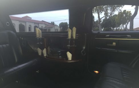 black 72-inch lincoln town car limousine right view