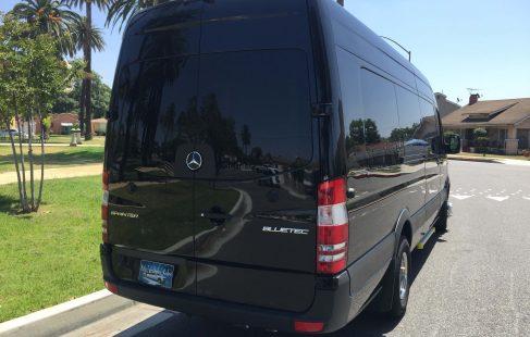 2016 black mercedes benz 3500 sprinter limo van rear view
