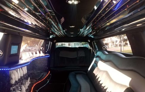 2008 cool vanilla 140-inch chrysler 300 limousine facing rear