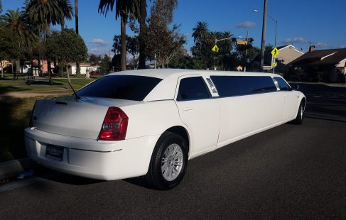 2008 cool vanilla 140-inch chrysler 300 limousine right rear