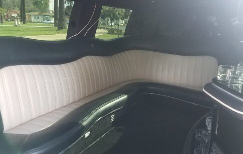 pear white 100-inch cadillac escalade limo j-seating