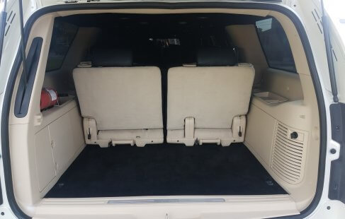 pear white 100-inch cadillac escalade limousine rear hatch open