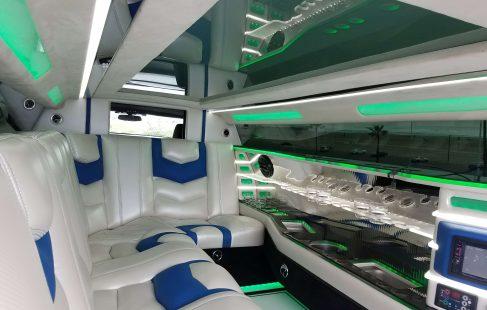 2017 white convertible chevy camaro 140-inch limousine interior