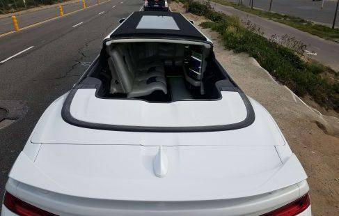2017 white convertible chevy camaro 140-inch limousine open