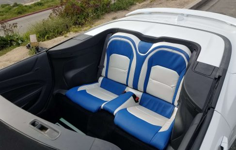 2017 white convertible chevy camaro 140-inch limousine rear seating