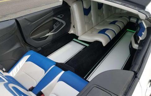 2017 white convertible chevy camaro open inside view