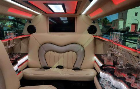 black 140-inch lincoln continental limousine interior